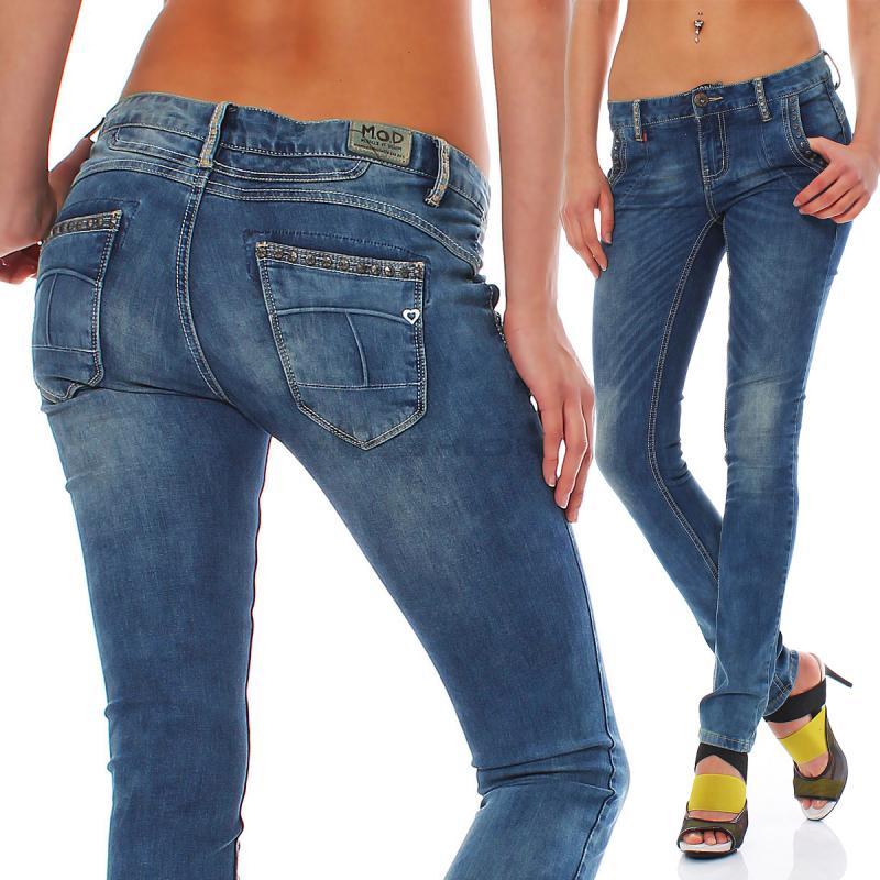 m o d damen jeans jeanshosen hosen rena skinny laem blue su13 2044. Black Bedroom Furniture Sets. Home Design Ideas