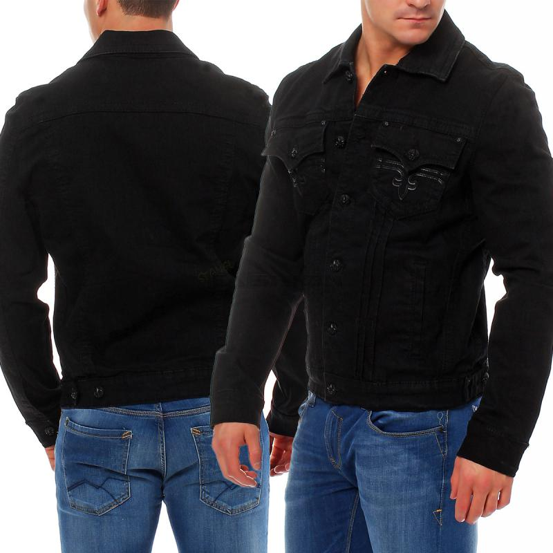 rock revival schwarze herren jeansjacke jeans jacke. Black Bedroom Furniture Sets. Home Design Ideas