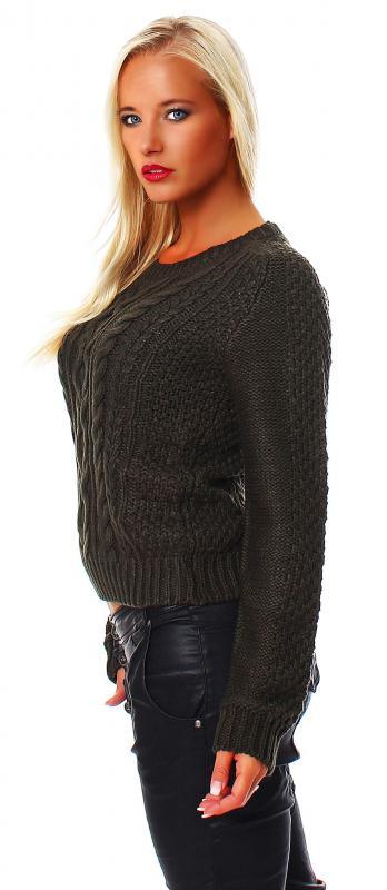 all about eve damen strick pullover khaki s 8. Black Bedroom Furniture Sets. Home Design Ideas