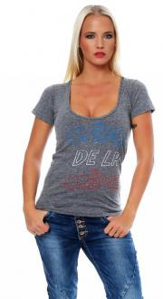 Local Celebrity Damen T-Shirt Shirt Kurzarmshirt CREME DE...