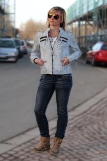 M.O.D Damen Lederjacke Bikerjacke Jacke LJ064