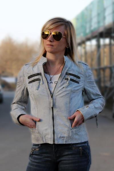 M.O.D Damen Lederjacke Bikerjacke Jacke LJ064 XS