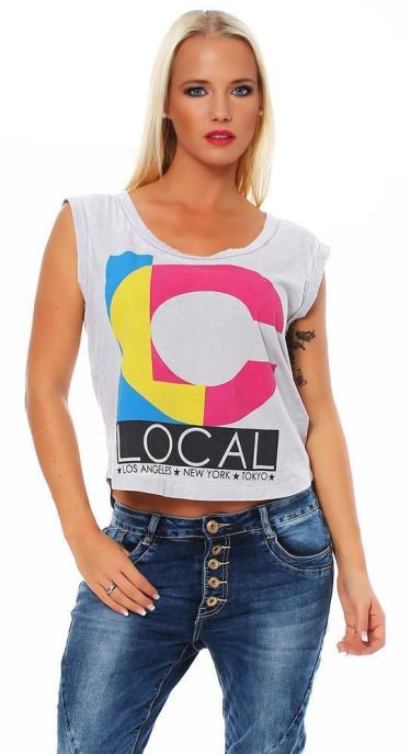 Local Celebrity Damen Shirt, T-Shirt Muscle Shirt LC Logo Größe M