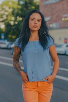 M.O.D Damen Bluse BL080 Blau Größe M