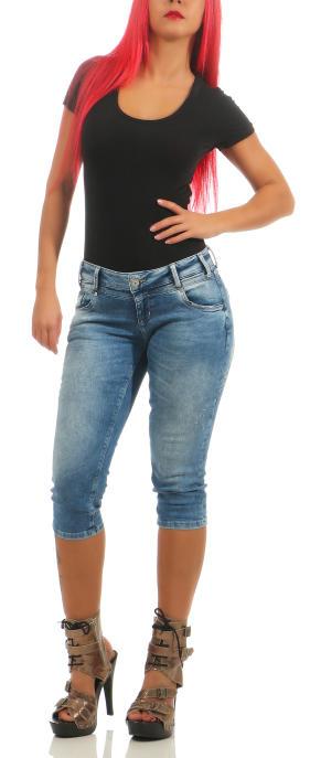 M.O.D Damen Capri Jeans Hose REA CAPRI Tripolis Blue W28
