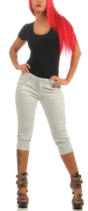 M.O.D Damen Capri Jeans Hose REA CAPRI Light Grey W30