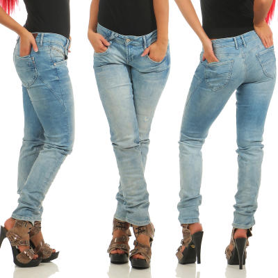 M.O.D Damen Jeans Hose MARIA Pretoria Blue Destroyed W25 L 32