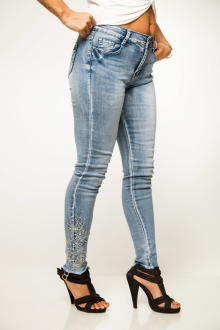 Miss Queen Damen Jeans 7/8 Stretch Denim Skinny