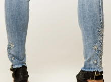 Miss Queen Damen Jeans 7/8 Stretch Denim Skinny S