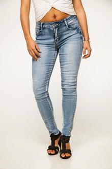 Miss Queen Damen Jeans 7/8 Stretch Denim Skinny L