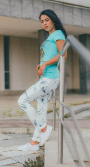 M.O.D Damen Jeans Rachel Regular white flower W33