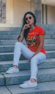 Mafia and Crime Damen T-Shirt FUCK THE WORLD -  rot