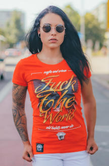 Mafia and Crime Damen T-Shirt FUCK THE WORLD -  rot L
