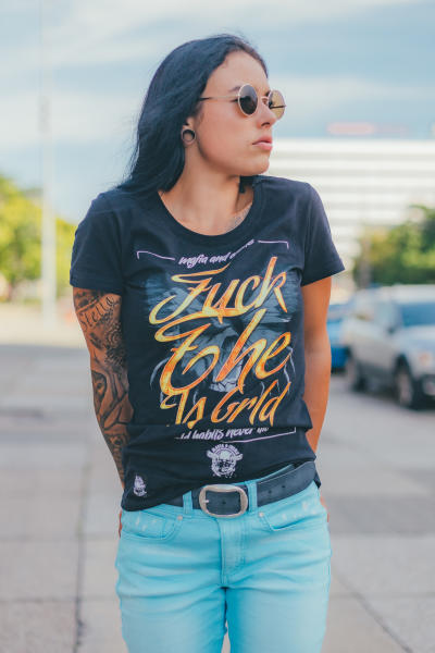 Mafia and Crime Damen T-Shirt FUCK THE WORLD - black