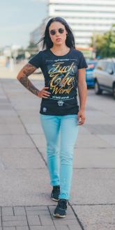Mafia and Crime Damen T-Shirt FUCK THE WORLD - black