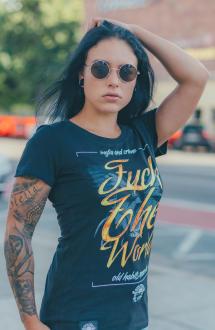 Mafia and Crime Damen T-Shirt FUCK THE WORLD - black S