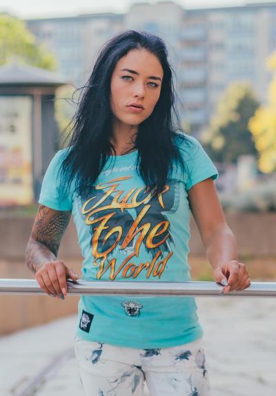 Mafia and Crime Damen T-Shirt FUCK THE WORLD - türkis