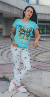 Mafia and Crime Damen T-Shirt FUCK THE WORLD - türkis XL