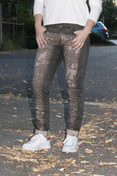 Buena Vista Damen Jeans Tummyless stretch Twill - black leo XXS