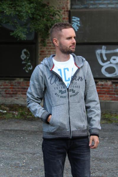 BROADWAY NYC Herren Sweatjacke Kapuzensweater COTY M grau melange