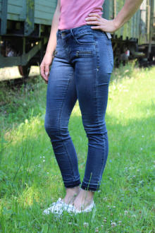Buena Vista Damen Jeans Italy 7/8 Stretch Denim roughed L