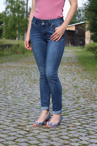 Buena Vista Damen Jeans Tummyless-Z Stretch mid stone XXS