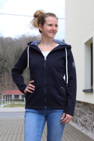 salzhaut Damen Strick Fleecejacke Kapuzensweater Danni