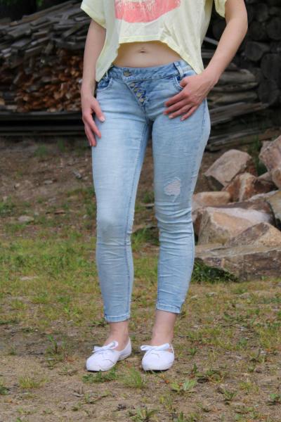 Buena Vista Damen Jeans Kim 7/8 stretch Denim bleach destroy XXS