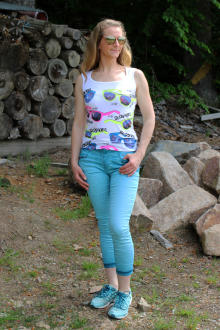 Buena Vista Damen Jeans Florida-Z 7/8 stretch Twill sea