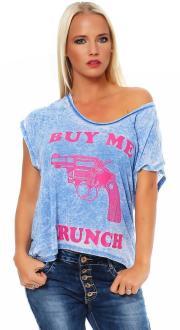 Local Celebrity Damen T-Shirt BUY ME BRUNCH blue Größe S