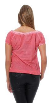 M.O.D Damen Bluse Kurzarmbluse Shirt Kurzarmshirt BL089 red