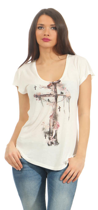 Religion Damen T-Shirt CORNER STONE TEE  B142COT40 weiß S