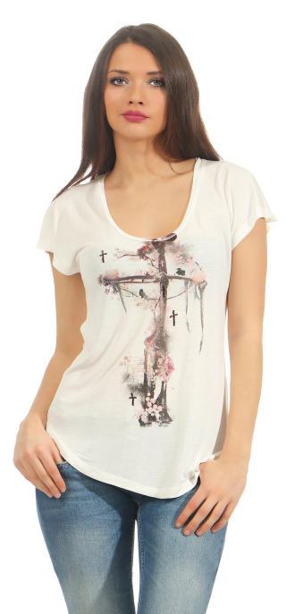 Religion Damen T-Shirt CORNER STONE TEE  B142COT40 weiß L