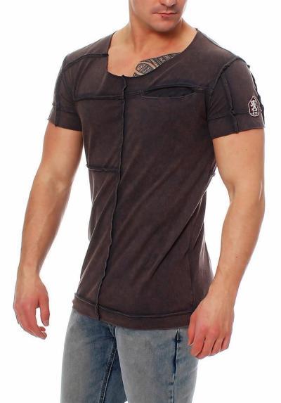 RioRim Herren T-Shirt Kurzarmshirt Shirt Kosuni anthrazit