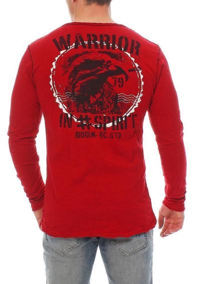 RioRim Herren T-Shirt Langarmshirt Longsleeve Shirt ATOHI 3106 rot