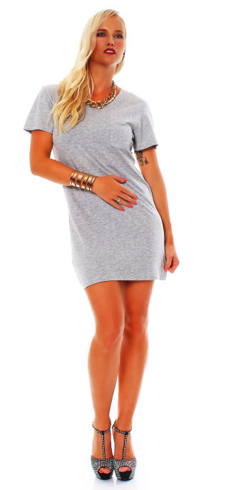 all about eve Damen T-Shirt Dress BOYFRIEND grey marle S