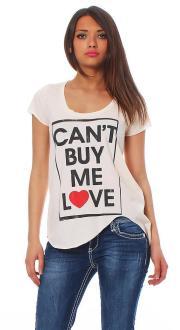 Local Celebrity Damen T-Shirt Shirt Top Kurzarm CAN`T - W125-LOC2720-PPK Größe L