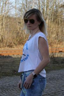 Local Celebrity Damen T-Shirt Shirt Top Kurzarm ALLERGIC W250-LOC2751-PPK Größe S